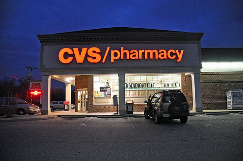 CVS logo in neon